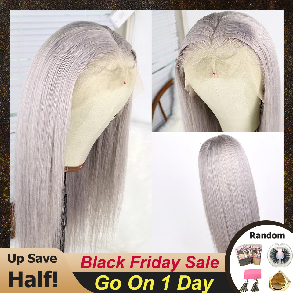 Brazilian Remy Hair Grey Color Lace Wig Straight 13x6 Lace Front Human Hair Lace Wigs For Women With Pre Plucked Hairline EQ
