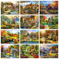 Evershine 5D Diamond Painting Landscape Cross Stitch House Embroidery Sale Needlework Mosaic Rhinestones Pictures Home Decor