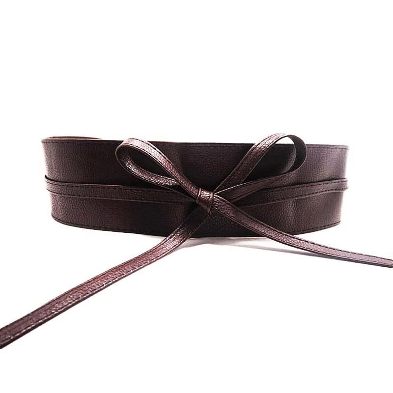 Womens Soft Leather Wide Self Tie Wrap Around Obi Waist Band Boho Dress Belt DXAA