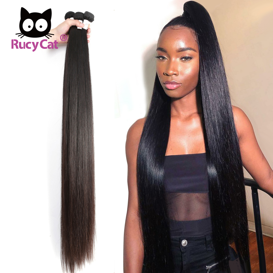 Rucycat 8-40 Inch Peruvian Hair Weave Bundles 100% Remy Human Hair Bundles 1/3/4/Lot Natural Color Hair Weave Free Shipping