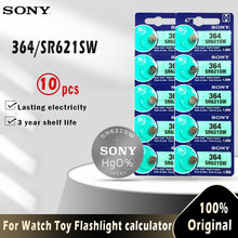 10 шт. оригинальный аккумулятор Sony 364 SR621SW V364 SR60 SR621 AG1 LR621 164 531 1,55 V, батарейки для часов, игрушек, пульта дистанционного управления