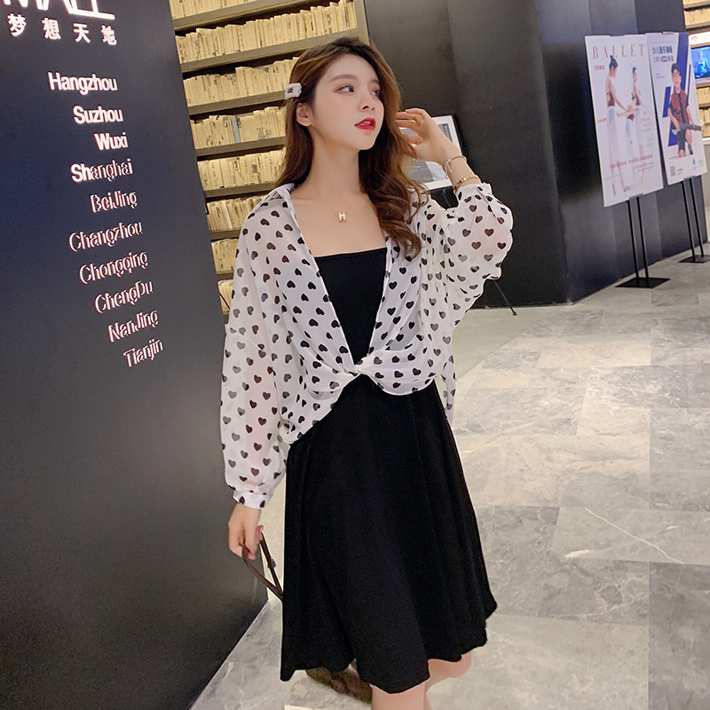 Photo Shoot Dress Summer  Korean-style New Style Slim Fit Solid Color Strapped Dress + Loose-Fit Sun Shirt Women's F7352