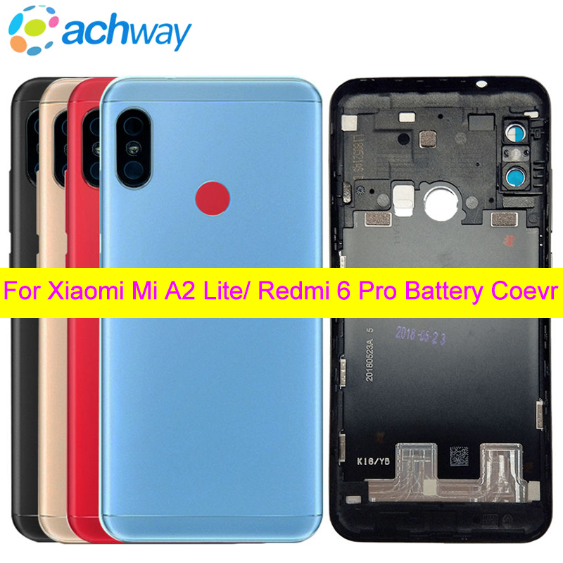 for <font><b>Xiaomi</b></font> <font><b>mi</b></font> <font><b>A2</b></font> Lite Back <font><b>Battery</b></font> <font><b>Cover</b></font> Door Rear Housing Case Redmi 6 Pro <font><b>Battery</b></font> <font><b>Cover</b></font> Repair Spare Parts Power Volume Button image