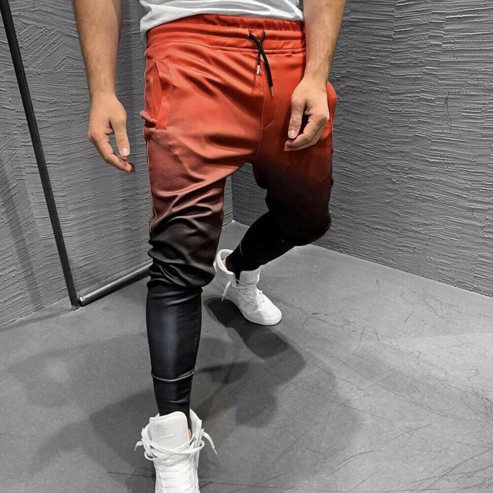 2019 Men Casual Sports Long Pants Male Gym Slim Fit Gradient Pencil Trousers Running Sweatpants Plus Size