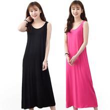 Artı boyutu 6XL yaz kadın rahat pijama uzun Modal gecelik Nightie kolsuz gevşek ev elbise Sexy Lingerie gecelik