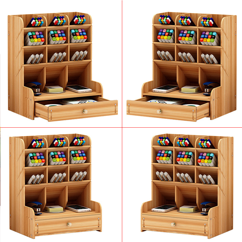 Wooden Multi-function Desktop Pen Holder 5 Layer Desk Storage Box Portable With Drawer Office School Storage Box Stationery