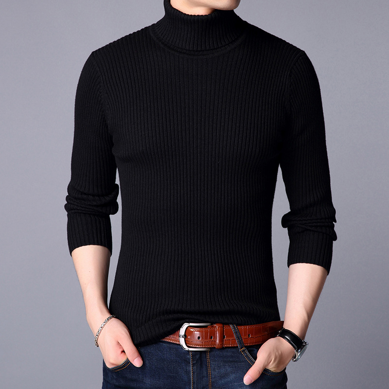 YUSHU Men's Autumn Wool-blend Sweater Long Sleeve Turtleneck Knitted Pullovers Men Brand Clothing Size M-3XL