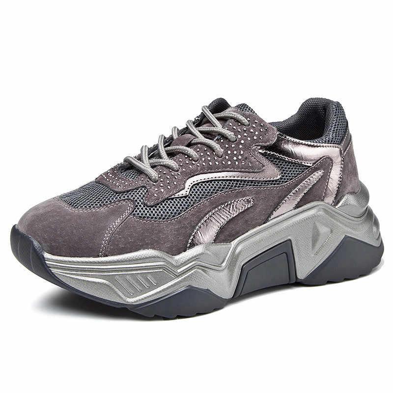 Mbr força tênis feminino outono e primavera fundo grosso cristal em linha reta moda redonda cabeça malha respirável sapatos vulcanizados