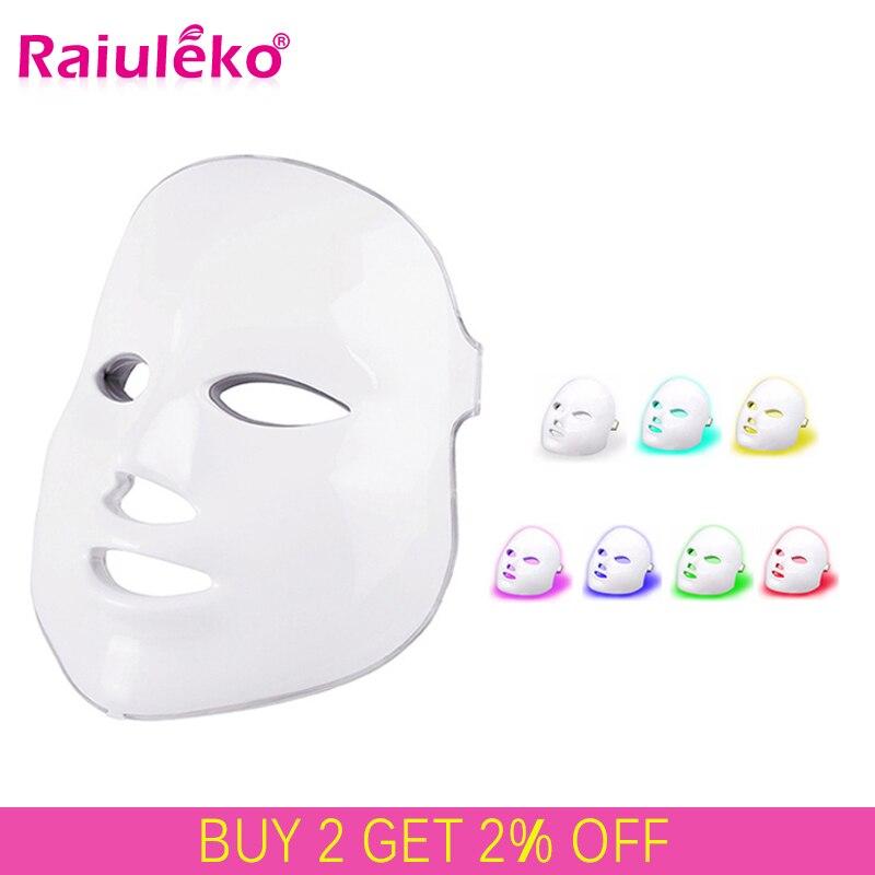 2019 amélioré 7 couleurs lumière LED photon masque Facial peau PDT rajeunissement de la peau Anti acné élimination des rides thérapie Salon de beauté