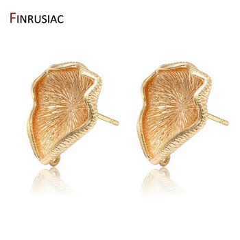 2020 New Trendy Design 14k Gold Plated Lotus-leaf Shape Earring Clasps Hooks Accessories DIY Earring Making Material leaf design earring set with rhinestone