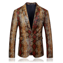 2019 autumn new Snake skin desgin men slim fit blazer casual plus size 5xl single button suits and blazers for