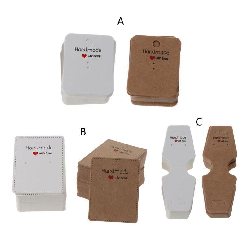 100Pcs Handmade Kraft Paper Blank Tags Earrings Necklace Display Cards Package