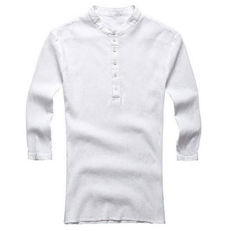 2020 Summer Mens Shirts Linen Shirt White Casual Three-Quarter Sleeve V Neck Hawaiian Shirt Beach Breathable Shirts 2