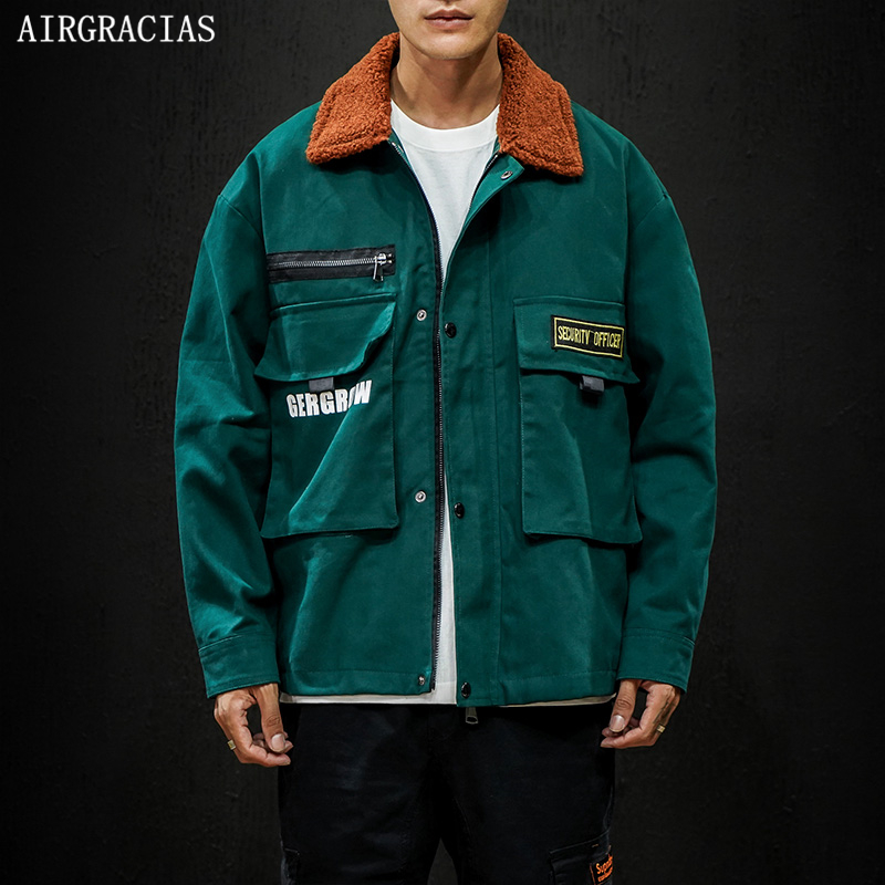 AIRGRACIAS Streetwear Coats Autumn Jacket Brand-Clothing Casual Mens Cotton Loose