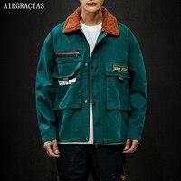 AIRGRACIAS 2019 Autumn Jacket Men 100% Cotton Overcoat Casual Green Jackets Men Loose streetwear Coats Mens Brand Clothing