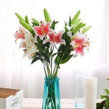 Лилия шелковая ткань искусственный цветок свадебное украшение DIY ВЕНОК подарок украшение для дома ремесло растение искусственный цветок