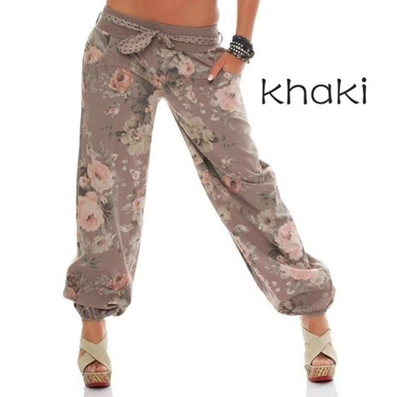 Pantalones de har/én Estampados para Mujer Pantalones de Pierna Ancha Ocasionales con Abertura Lateral Pantalones Florales Flojos Pantalones de Baile de Yoga Pilates