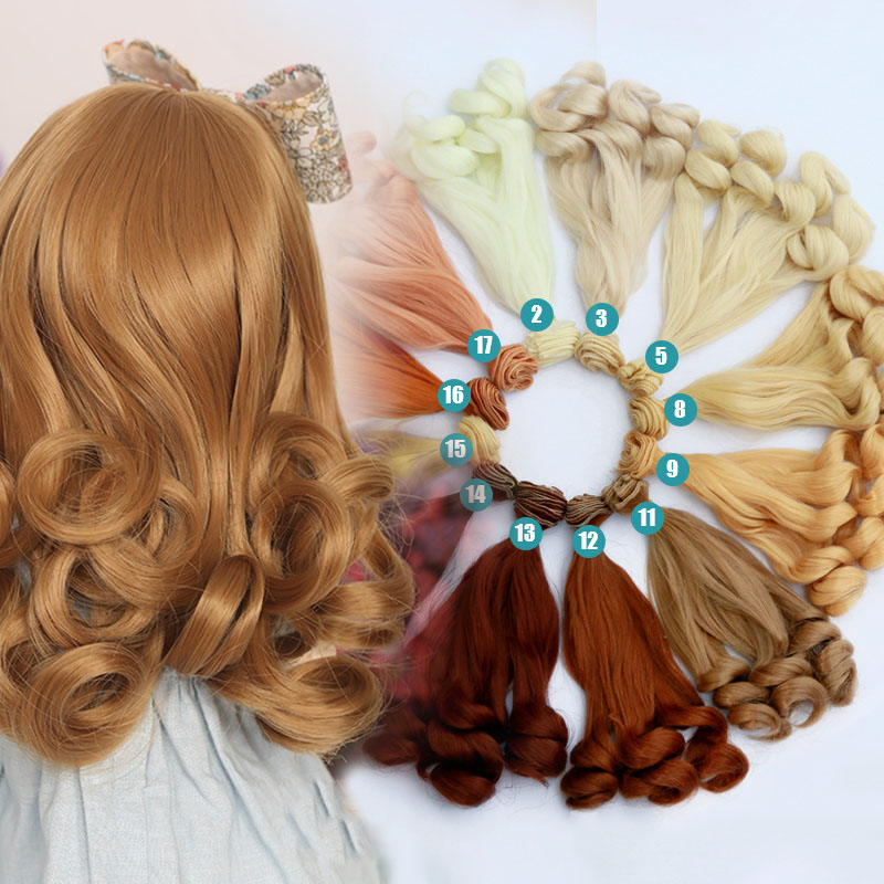 20cm Doll Hair Bjd Wig Doll Accessories Large Wave Curls Hair Fits Bjd Doll Multiple Colour Wig Gifts For Girls Christmas Outfit