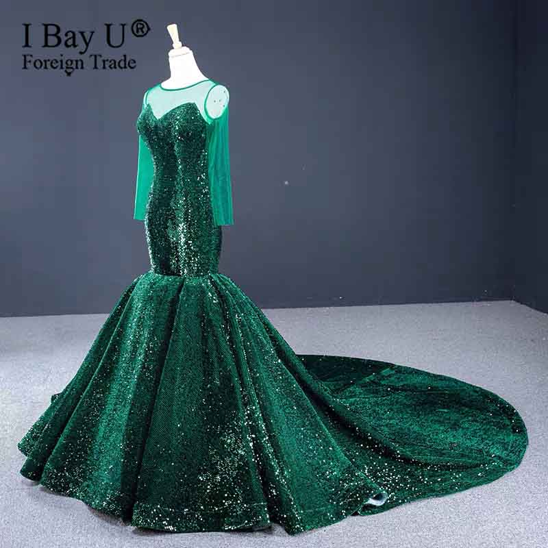 Green Long Sleeves Puffy Train Muslim Evening Dresses 2020 Lace Sequin Dubai Kaftan Saudi Arabic Elegant Formal Dress Gown