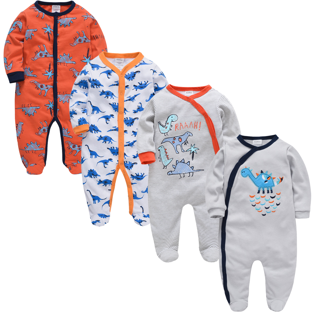 2020 <font><b>3</b></font> 4 pcs/set Baby Boy Girl Clothes 100% Cotton ropa bebes Long Sleeve Summer Baby Romper <font><b>0</b></font>-3m Newborn Jumpsuit image