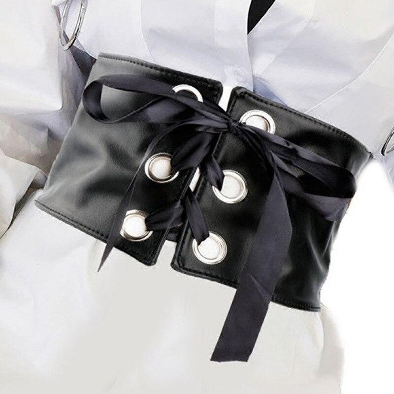 WKOUD EAM 2020 New Fashion Design Female Waistband Metal Buckle Leather Belt Women Casual Elastic Bow Wild Waistband Lady PE129