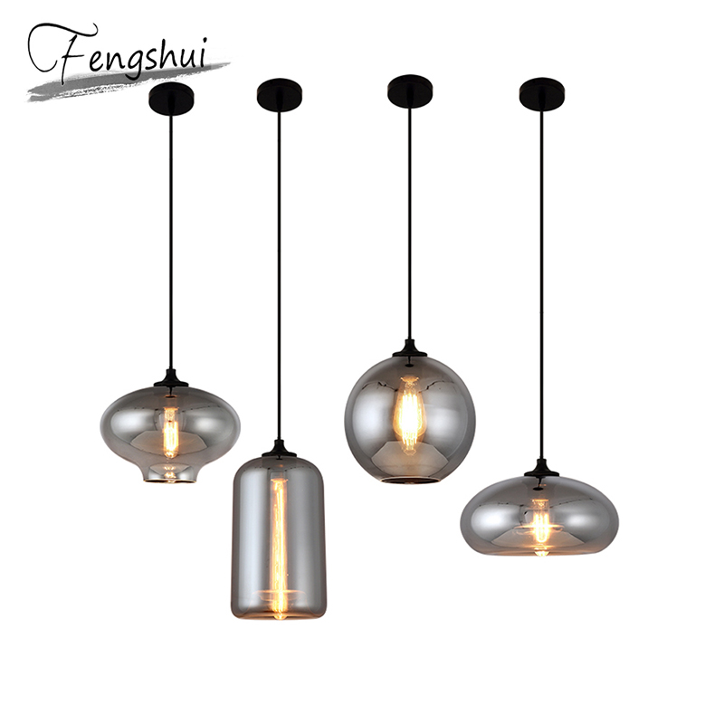 Nordic Retro Glass Pendant Lights Lamp LED Pendant Lighting Living Room Cafe Dining Room Bedroom Loft Home Deco Hanging Lamp