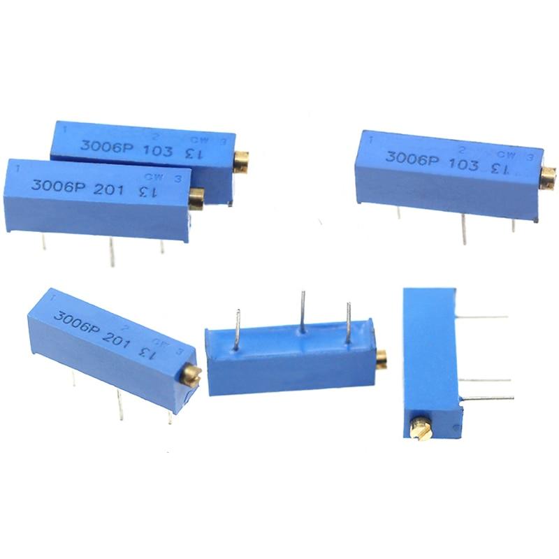 10pcs 3006P Potenziometro 1K 2K 5K 10K 20K 50K 100K 200K 500K 1M 100R 200R 500R Regolabile di Precisione Multi-turn Potenziometro