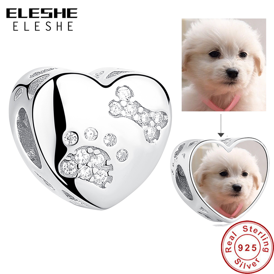 ELESHE 925 Sterling Silver Pet Paw Print Heart Custom Photo Charms Beads Fit Pandora Bracelet Necklace DIY Personalized Jewelry