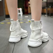 Sock Sneaker Women High Top Sneakers Fashion Black Boots Chunky Ankle White Autumn 2019