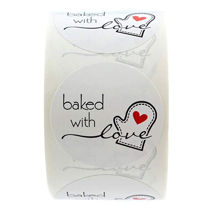 Купить с кэшбэком 1inch Baked With Love Stickers Tags Handmade DIY Christmas Baking Bread Cake Cookies Pastry Bag Decoration Personality Label 500