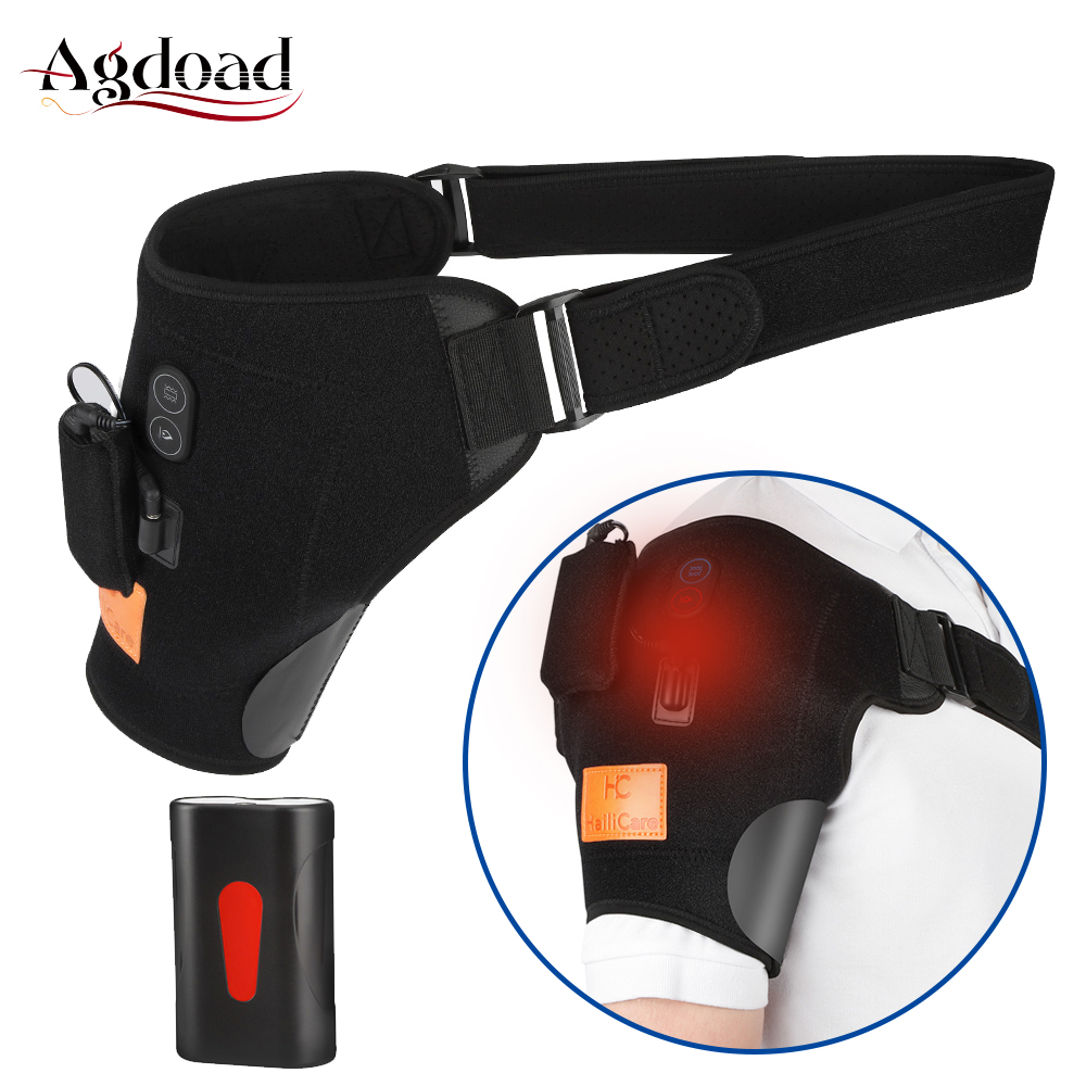 Heated Shoulder Brace Vibration Massage Heat Therapy Left Right Shoulder Support Heating Pads With Battery For Pain Relief