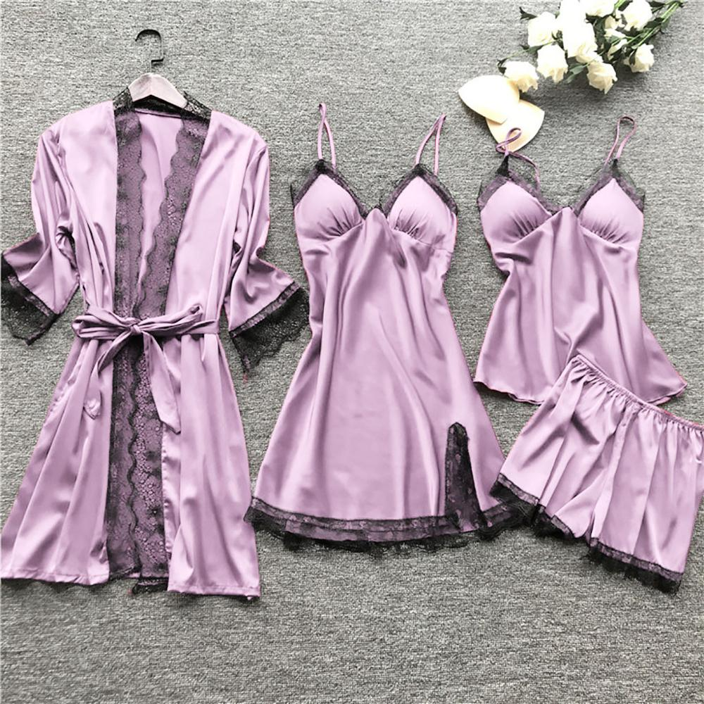 4Pcs Women Sexy Lingerie Robe Gowns Pajamas Set Lace Floral Kimono Dress Babydoll Nightdress Sleepwear Shorts Pants Pajamas Set