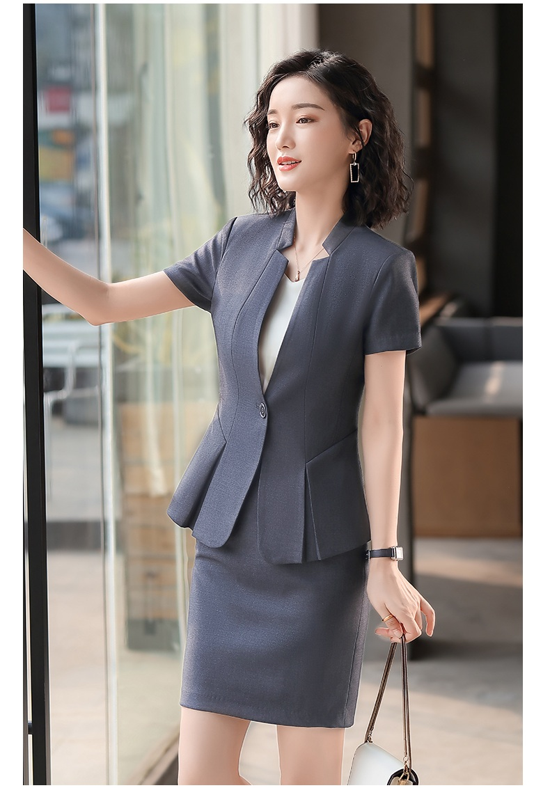 Female Elegant Formal Office Work Wear Ladies Grey Blazer Women Business Suits with Skirt and Jacket Sets OL Styles 2 Piece Set