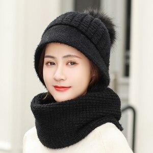 Image 5 - Роскошная теплая вязаная зимняя женская шапка для девочек, шапочки с кроличьими волосами, бархатная шапка маска, Femme Балаклава Шарф, шапка