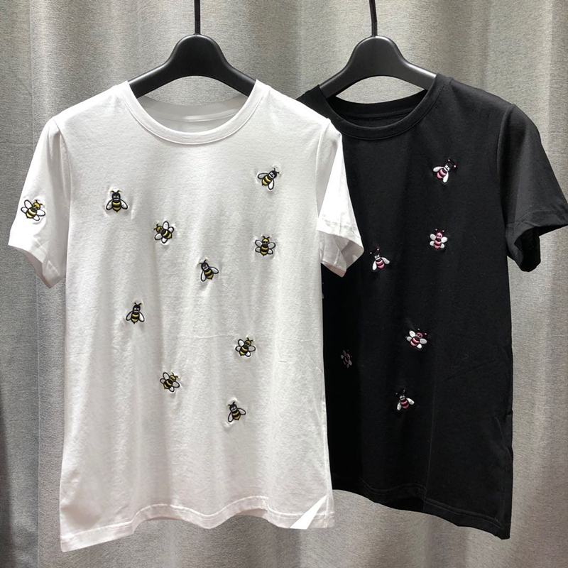 Round Collar Thin Short Seelve Cotton Tshirt Woman  2020 New Spring/Summer Good Quality Bee Embroidery Straight Women T Shirt