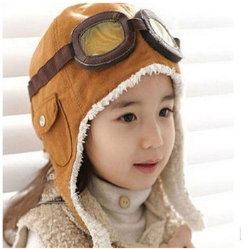 New Fashion Cute Winter Baby Toddler Baby Boy Girl Kids Pilot Aviator Warm Cap Hat Beanie Pilot Caps 2 Colors 1pc new spring warm cotton baby hat girl boy toddler infant kids caps candy color cute baby beanies accessories