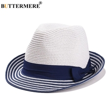 BUTTERMERE Summer Sun Hat Women Straw Female Linen Panama Blue White Striped Patchwork Beach Brand Ladies Jazz