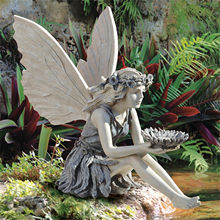 Estatua de Hada de girasol, escultura de Ángel hermosa, figura realista, ornamento de piedra para jardín, arte para exteriores, decoración interior