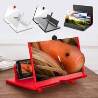 Lupa de pantalla 3D para teléfono móvil, amplificador de vídeo HD de 12/14 pulgadas, soporte con lupa plegable para teléfono móvil, juego de películas