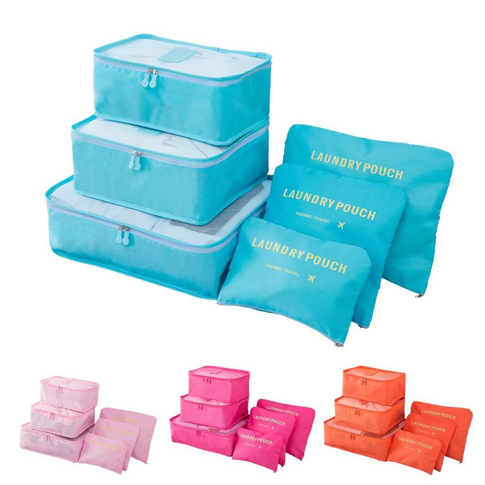 6PCS/Set Luggage Packing Organizer Set Travel Mesh Bag In Bag Luggage Organizer Packing Cosmetic Bag Organiser for Clothing Shop