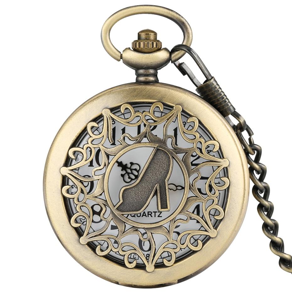 Bronze Lady High Heels  Hollow Hunter Design Quartz Pocket Watch Pendant Necklace Clock Retro Women Pocket Clock Gifts