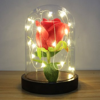 Rose Flower In Glass Bottle Eternal Cover MotherS Day Gold Leaf Transparent Night Light Gift