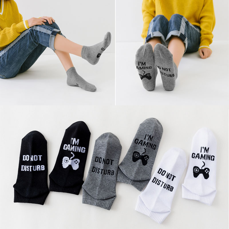 2020 Harajuku Short Sports Men Women Cotton Socks DO NOT DISTURB I`M GAMING Classic European And American Casual Socks