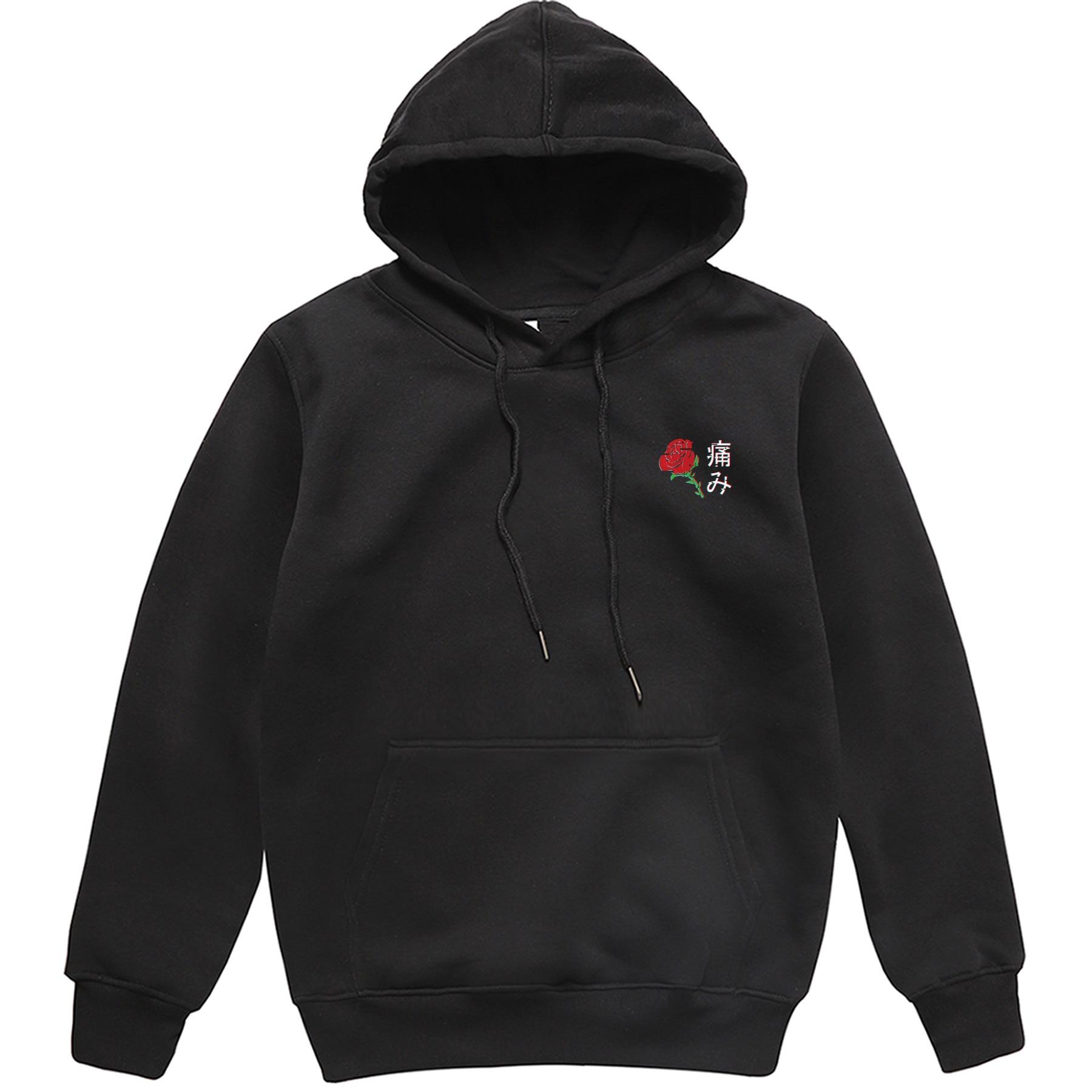 Japanese Aesthetic Rose Pattern Hoodie Men Outerwear Spring Fleece Streetwear Brand Tracksuit Male Harajuku Stylish Sweatshirts