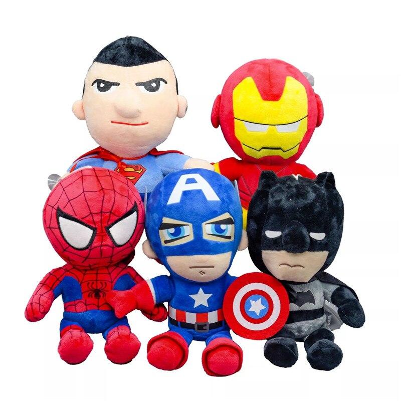 27cm Marvel Avengers Soft Stuffed Captain America Iron Man Spiderman Plush Toys Movie Dolls Christmas Gifts for Kids Boys