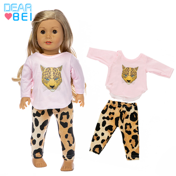 Fit 18 inch 43cm Doll Clothes Accessories Baby New Born American Pink Leopard Girl For BirthdayGift