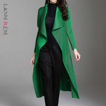 LANMREM Spring Summer Pleated Coat New Fashion Temperament Long Length For Women Loose Large Size Cardigan Outwear 2D1612