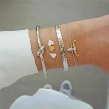 ZORCVENS 4Pcs/set Trendy Punk Knotted Opening Multi Layer Chain Bracelets & Bangles Love Heart Bull for Woman