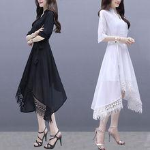 New Women Dress Summer Fashion  Mid-length irregular Short Sleeve Elegant Dresses Female Casual Plus Size Ladies Dress Vestidos