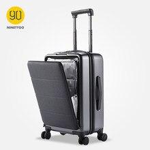 90 ninetygo bussiness mala de viagem 20 polegada com capa dianteira rodas spinner hardshell tsa bagagem bloqueio capa